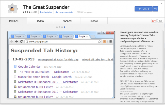 Cara Mudah Menghemat Memory Google Chrome