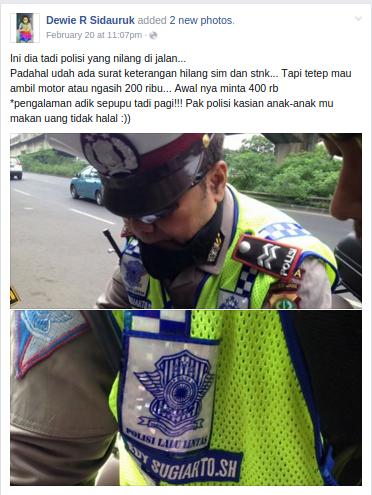 -5 Ini dia tadi polisi yang nilang di jalan...... Dewie R Sidauruk
