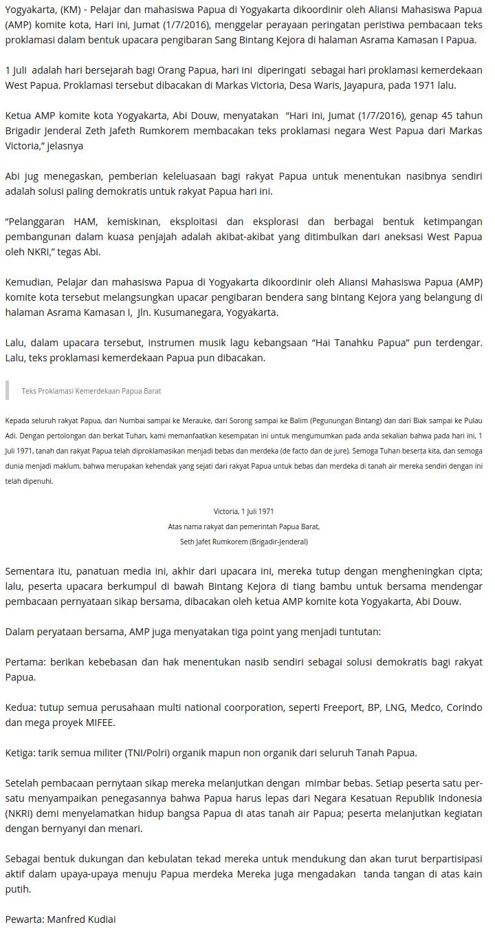 KABAR MAPEGAA  HUT ke 45 Proklamasi West Papua  Upacara Pengibaran Bendera 'BK' berlangsung di Yogya