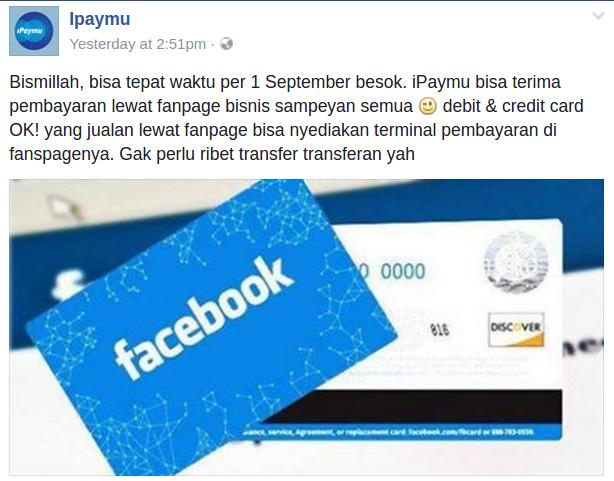 iPaymu bisa terima pembayaran lewat fanpage bisnis sampeyan semua debit & credit card